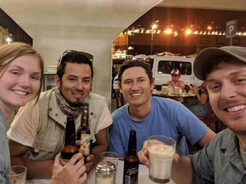 The crew celebrates after a successful kestrel trip!